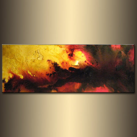 Original Sky Sunset Abstract painting, Contemporary Modern Red Black On Canvas Art by Henry Parsinia Large 48x18 - New Wave Art Gallery