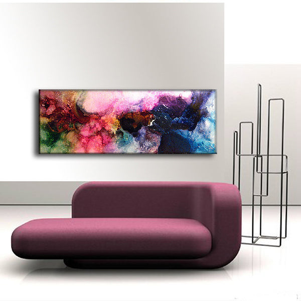 ORIGINAL Modern Abstract Painting ,contemporary fine art ,colorful canvas art by Henry Parsinia ,ready to hang 48x18 - New Wave Art Gallery