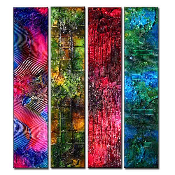Original Textured Abstract painting Contemporary Multipaneled  Fine Art by Henry Parsinia Large 36x32x1.58 - New Wave Art Gallery