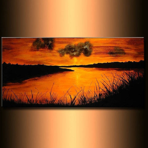 Original landscape painting River Sunset Fine Art On Canvas by Henry Parsinia 48x24 - New Wave Art Gallery