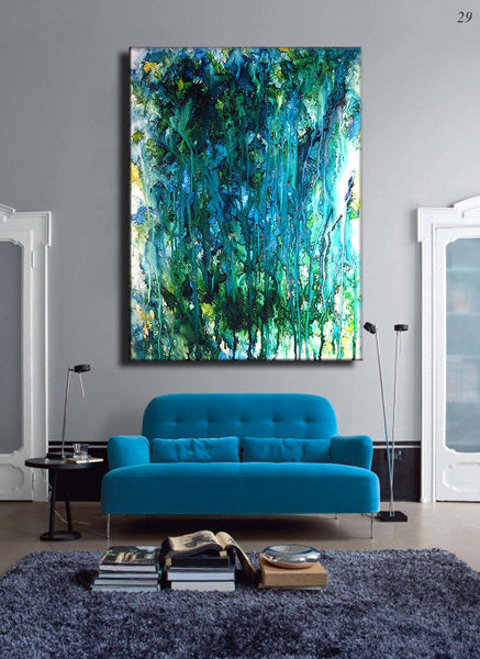 Contemporary Painting Abstract Painting ,Oversize Original Modern Blue ,Green Abstract Fine Art By Henry Parsinia Large 48x36 - New Wave Art Gallery