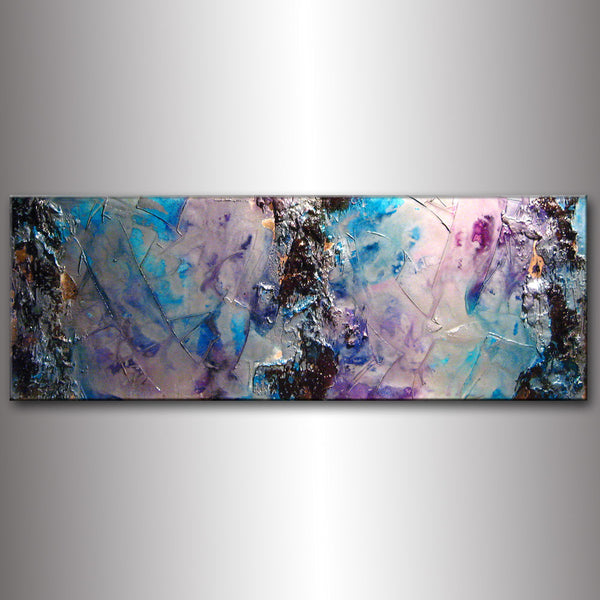 Original Textured Modern Large Abstract Metallic Thick Texture Gallery Canvas Art Contemporary Fine Art By Henry Parsinia 48x18 - New Wave Art Gallery