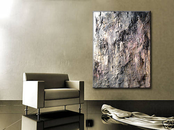 "Original Gray Textured Abstract Painting Huge Contemporary Art On Canvas By Henry Parsinia 48""x36"" - New Wave Art Gallery"