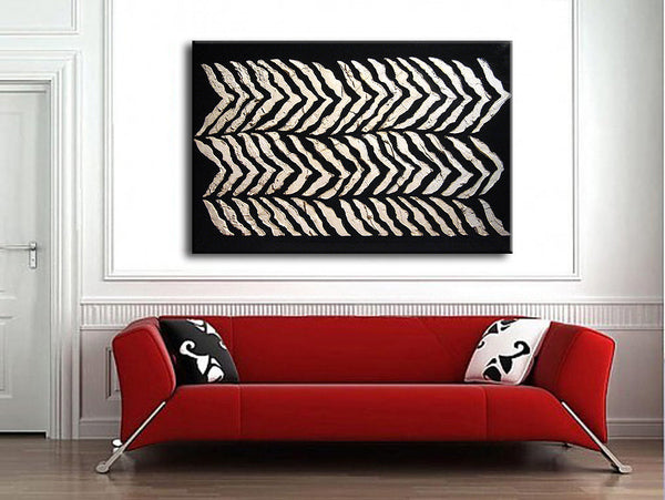 Abstract Art, Original Thick Textured Abstract painting, Contemporary Modern Black and White Fine Art by Henry Parsinia Large 36x24 - New Wave Art Gallery