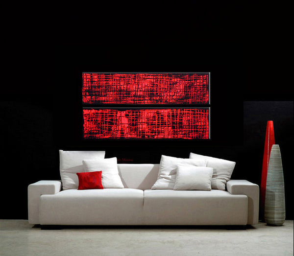 Original Red Abstract painting, Contemporary Multipanel Fine Art by Henry Parsinia Large 36x18 - New Wave Art Gallery