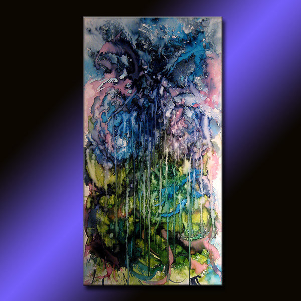 Painting Contemporary Abstract Painting Original Modern Blue Green Abstract Art By Henry Parsinia Large 48x24 - New Wave Art Gallery