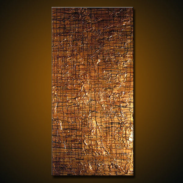 Original Modern Textured Metallic Contemporary Abstract Painting By Henry Parsinia Ready To Hang 48x24 - New Wave Art Gallery