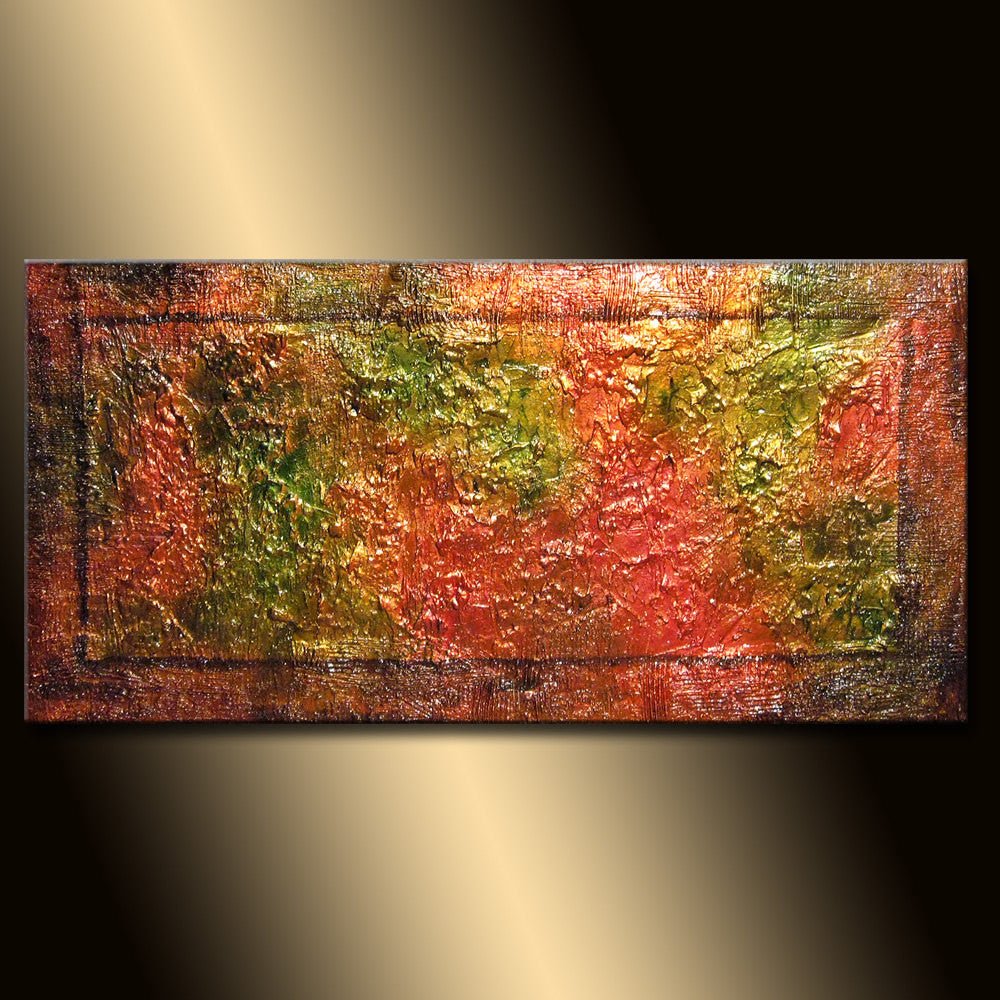 Original Textured Abstract Painting, Thick Textured Gold  Metallic Art by Henry Parsinia 48x24 - New Wave Art Gallery