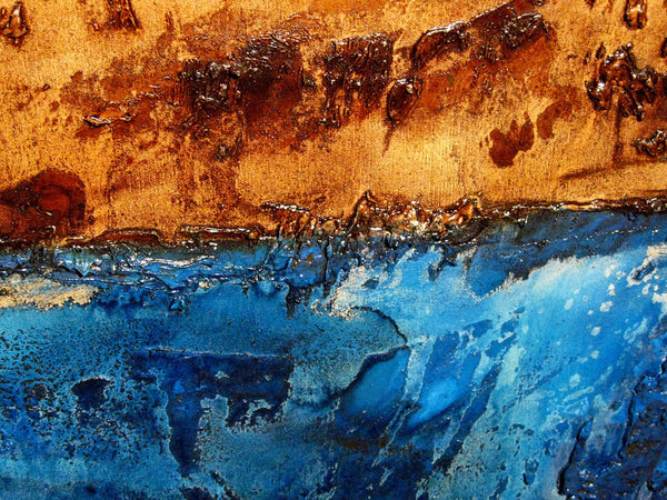 Original Brown & Blue Textured Abstract Painting, Contemporary Art, Modern Abstract fine art, by Henry Parsinia Large 48x18 - New Wave Art Gallery