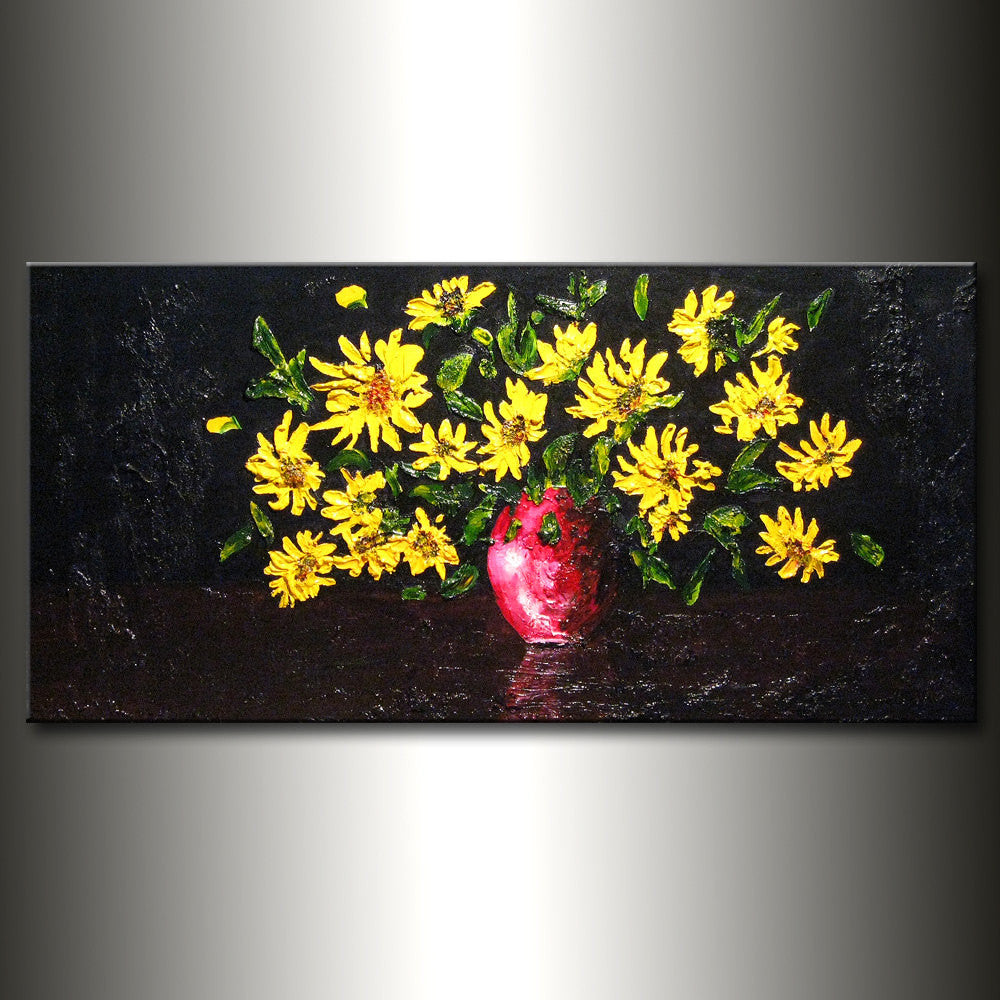 Original Textured  Abstract art Contemporary Floral Painting, yellow flowers bouquet in vase 48x24 - New Wave Art Gallery