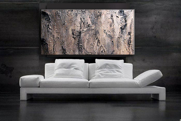 Original Textured Abstract Painting, Black,  White ,Gray Contemporary Art, Modern Abstract fine art, by Henry Parsinia Large 48x24IIIIIIIII - New Wave Art Gallery