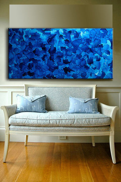 Original Large Blue Abstract Painting Modern Fine Art Painting Ready to Hang 48x24 by Henry Parsinia - New Wave Art Gallery