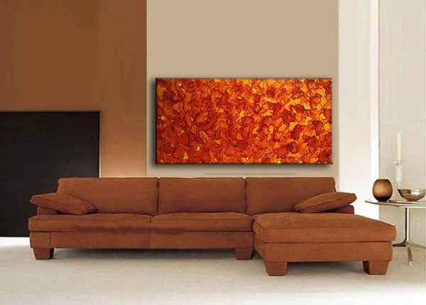 ORIGINAL Modern Abstract Painting ,Contemporary Yellow Ocher Autumn Color Fine Art By Henry Parsinia ,Ready TO Hang OOOOOOOO - New Wave Art Gallery