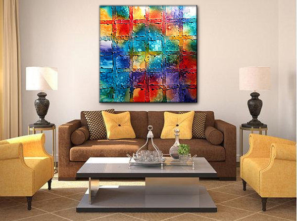 Texture Painting Original Modern Colorful Abstract Painting On Canvas by Henry Parsinia Ready To Hang Large 36x36 - New Wave Art Gallery