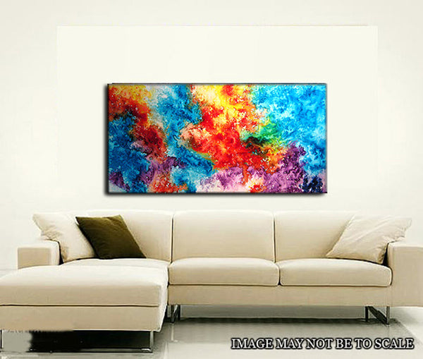 Large Colorful Original Abstract painting Contemporary Modern Art by Henry Parsinia 48x24 - New Wave Art Gallery