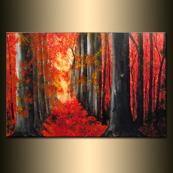 "Original LANDSCAPE PAINTING Autumn Trees Pathway Autumn Day Gallery Fine Art By Henry Parsinia Ready To Hang 36"" - New Wave Art Gallery"