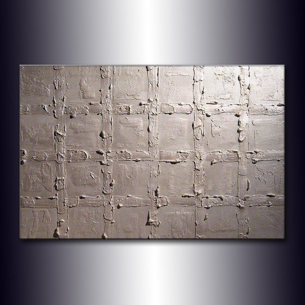 Original Textured metallic Pearl White Abstract Modern Painting Contemporary Fine Art by Henry Parsinia Large 36x24 - New Wave Art Gallery