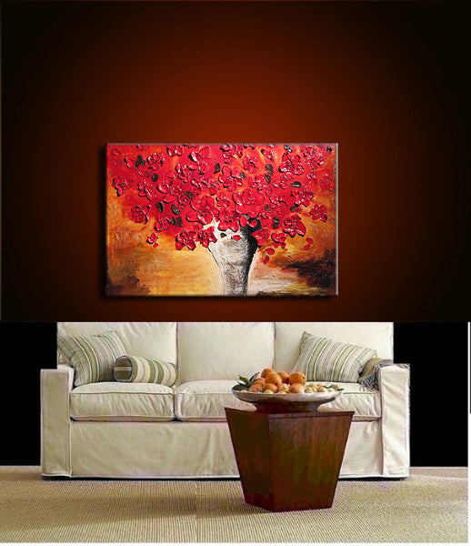 Heavy Texture Red Floral Abstract Painting Flowers Bouquet in Vase Ready to Hang 36x24 - New Wave Art Gallery