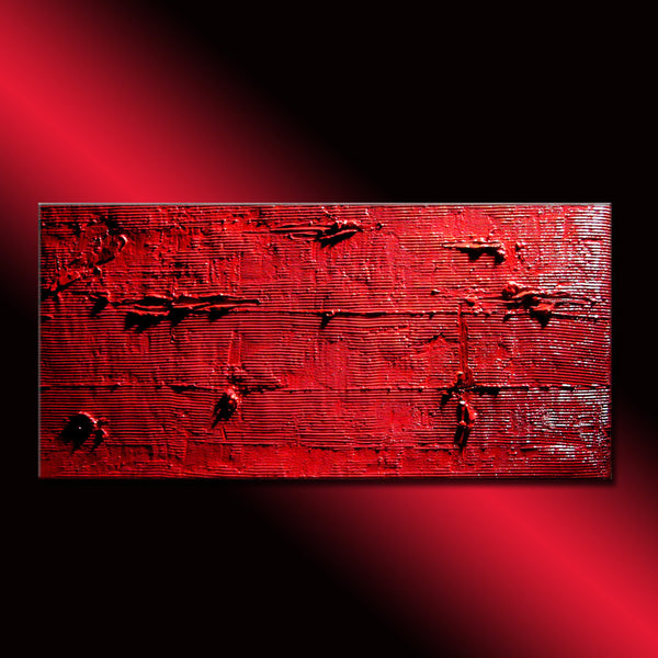 Original Red Textured Abstract Painting Contemporary Wall Art Modern Abstract by Henry Parsinia Large 48x24 - New Wave Art Gallery