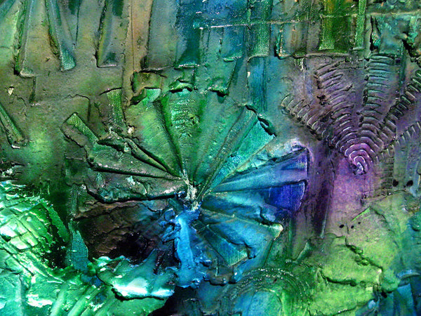 Texture painting ,Original Abstract Modern Art , Blue , Green Contemporary Art By Henry Parsinia 48x24 - New Wave Art Gallery