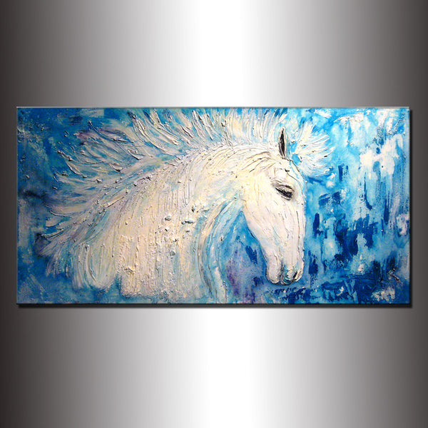 Original Textured Modern Abstract Figurative Impressionism Painting, Contemporary White Horse Painting By Henry Parsinia Large 48x24 - New Wave Art Gallery
