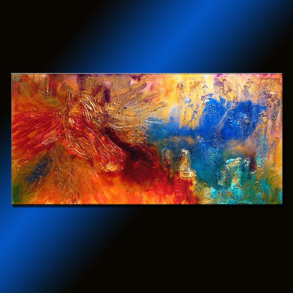 Original Textured Modern Abstract Figurative Impressionism Painting, Contemporary Metallic Horse Painting By Henry Parsinia Large 48x24 - New Wave Art Gallery