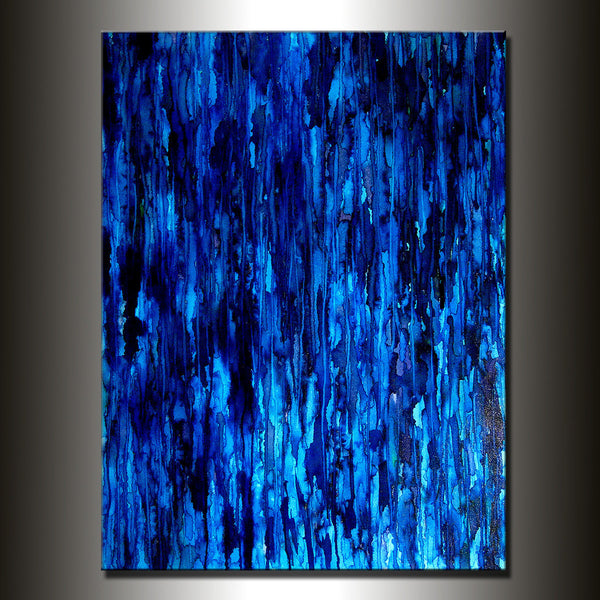 Modern Painting Original Large Blue Abstract Painting Modern Abstract Art Painting Ready to Hang 48x36 by Henry Parsinia - New Wave Art Gallery