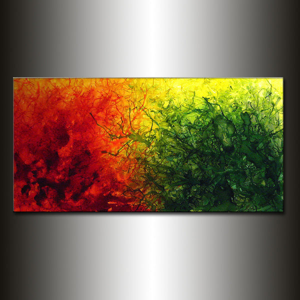 Green Red Yellow Original Abstract painting, Contemporary Modern Fine Art, Colorful Canvas Art, by Henry Parsinia 48x24 - New Wave Art Gallery