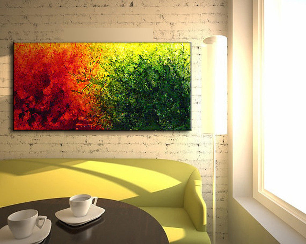 Green Red Yellow Original Abstract painting, Contemporary Modern ...