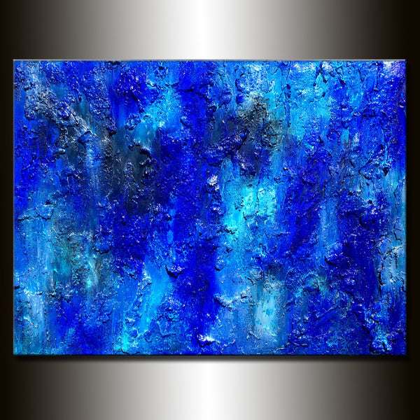 Original Textured Large Blue Abstract Painting Contemporary Modern Canvas art by Henry Parsinia 48x36 - New Wave Art Gallery
