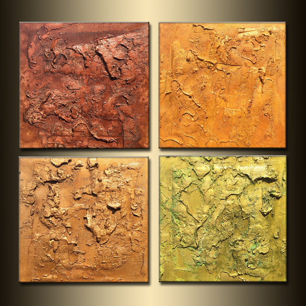 Original Modern Abstract Painting, Textured Metallic Art by Henry Parsinia  24 x 24 - New Wave Art Gallery