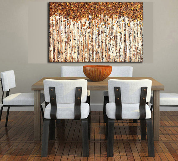 Contemporary Textured Metallic landscape Abstract Trees Painting Modern Art By Henry Parsinia - New Wave Art Gallery