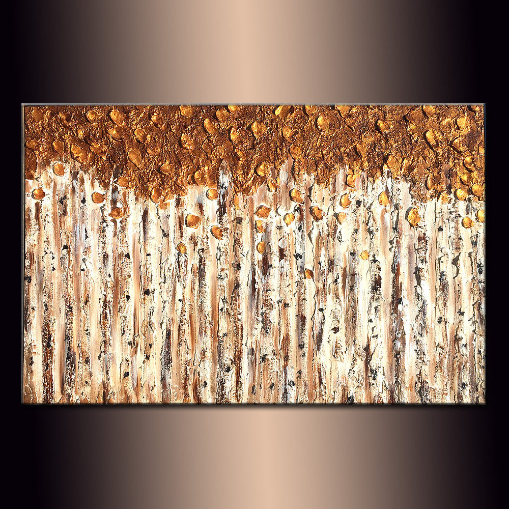 Contemporary Textured Metallic landscape Abstract Trees Painting