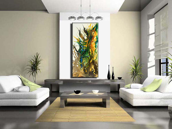 Original Abstract painting--Contemporary Modern Fine Art--Large Colorful Canvas Art, by Henry Parsinia 48x24 - New Wave Art Gallery