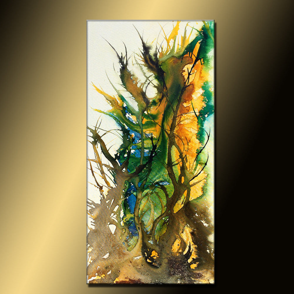 Original Abstract Painting Contemporary Modern Fine Art Large Colorful Canvas Art By Henry Parsinia 48x24