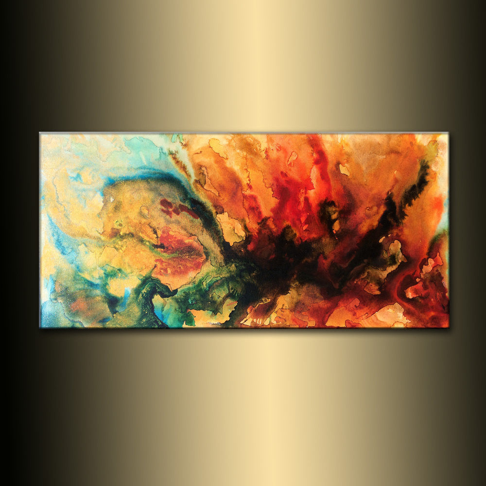 Abstract Painting, Original Abstract painting, Contemporary Modern Fine Art, Colorful Canvas Art, by Henry Parsinia Large 48x24 - New Wave Art Gallery