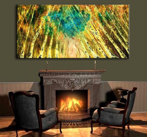 Original Modern Abstract Landscape Trees Pathway Painting ,Contemporary Fine Art By Henry Parsinia 48x24 - New Wave Art Gallery