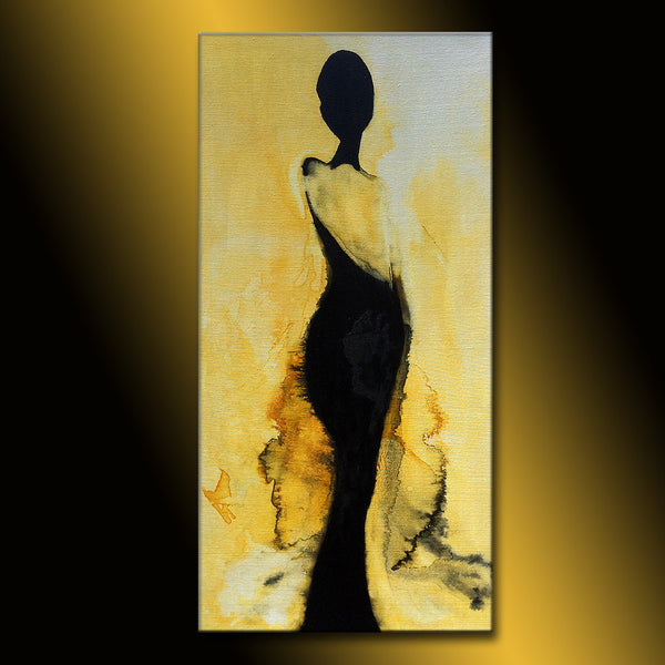 Abstract Painting, Original Figurative Abstract painting, Contemporary Modern Fine Art, by Henry Parsinia Large 48x24 - New Wave Art Gallery