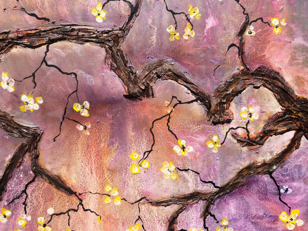 Original Abstract painting, Contemporary Textured Modern Floral Tree Blossoms  Fine Art, Canvas Art, by Henry Parsinia 36x24 - New Wave Art Gallery