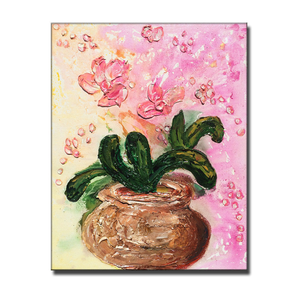 Original textured abstract art contemporary pink orchid flowers original textured abstract art contemporary pink orchid flowers bouquet in vase thick textured painting izmirmasajfo