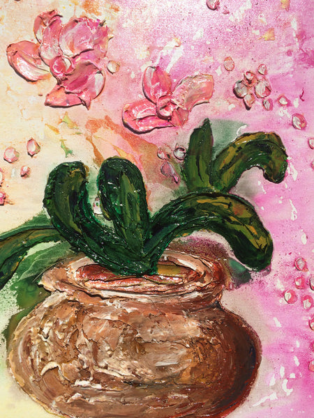 ORIGINAL Textured Abstract Art, Contemporary Pink Orchid Flowers Bouquet in Vase, Thick Textured  Painting by Henry Parsinia - New Wave Art Gallery