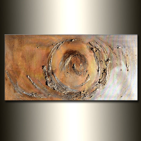 Original Gold And Silver Metallic Textured Modern Abstract Painting Contemporary Wall Art On Canvas By Henry Parsinia 48x24 - New Wave Art Gallery