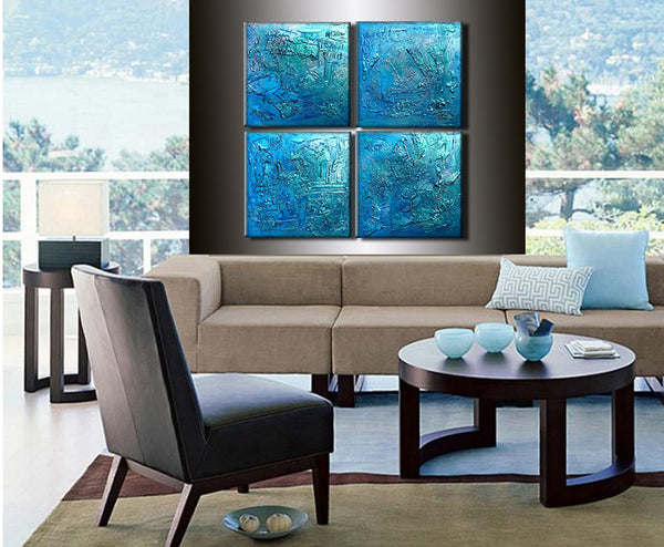 Huge Original Abstract Painting, Textured Metallic Art by Henry Parsinia large 40x40 - New Wave Art Gallery
