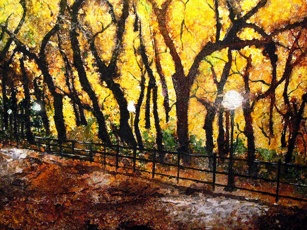 Original New York Central Park Landscape Abstract Painting Fine Art On Canvas Art by Henry Parsinia 60x24 - New Wave Art Gallery