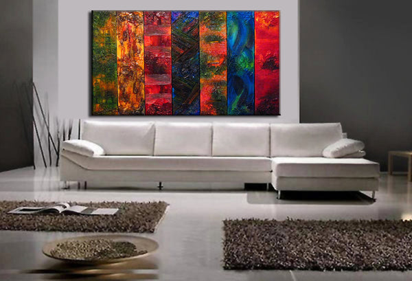 Huge Original Abstract Painting, Textured Modern Art by Henry Parsinia large 84x48 - New Wave Art Gallery