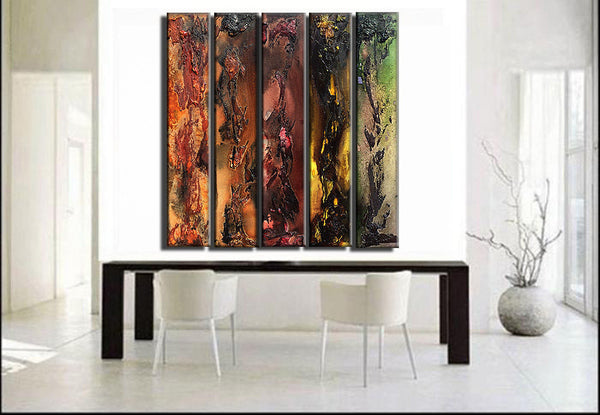Original Textured Abstract painting Contemporary Multipanel Fine Art by Henry Parsinia Large 36 x 40 - New Wave Art Gallery