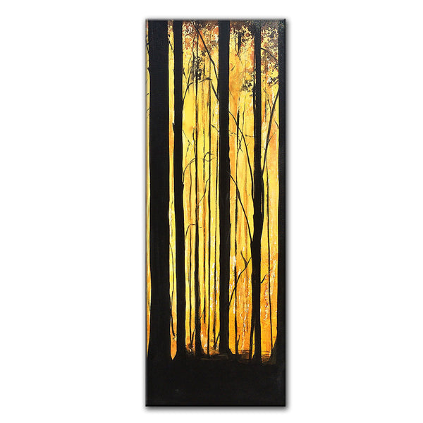 "Original Landscape Painting forest Trees Gallery Fine Art By Henry Parsinia Ready To Hang 48""x 18"" - New Wave Art Gallery"