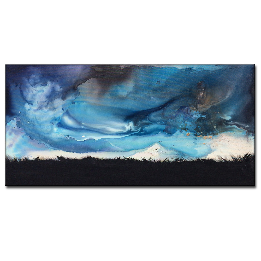 Original stormy cloud landscape abstract painting valley dusk contemporary gallery art on canvas by new wave
