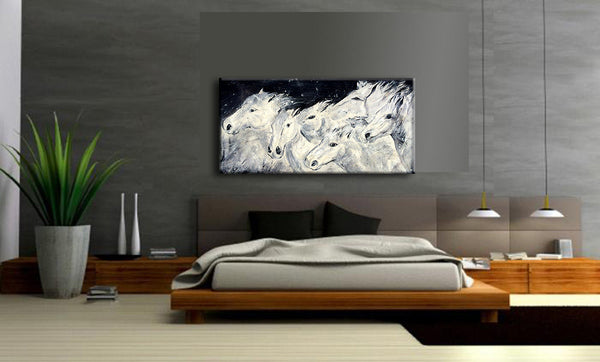 Original HORSE PAINTING Abstract Black And White Figurative Animal Art on Canvs by Henry Parsinia - New Wave Art Gallery