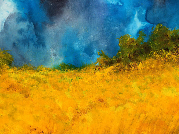 Original Valley Summer Day Landscape Painting Fine Art On Canvas by Henry Parsinia new wave Art Gallery 48x24 - New Wave Art Gallery